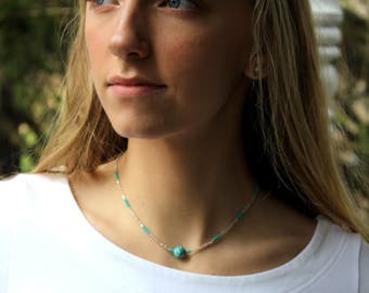 Beaded Choker Necklace  with Turquoise Accent Bead