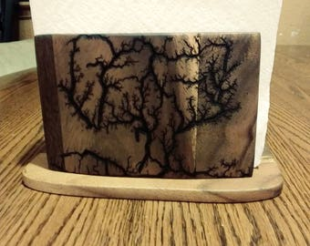 Bamboo napkin holder with two fractral images of the tree life