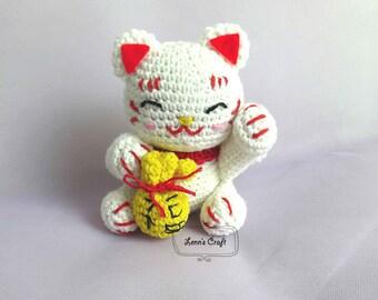 Maneki Neko Lucky Cat amigurumi crochet doll PATTERN - cat amigurumi PATTERN -japanese kitten amigurumi
