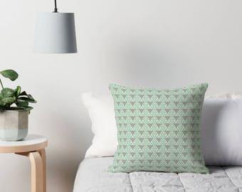 Throw pillow, Grey Cushion, Geometric cushion, Grey squares, Mint geometric, geometric home decor, Mint home decor, squares, grey decor