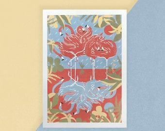 A Flamboyance of Flamingos Print