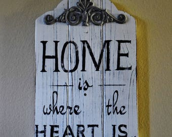 Home Is Where The Heart Is, Rustic Home Decor, New Home Gift, Home Sign, Home Decor, Home Is Where, Where the Heart Is, The Heart Is, Heart