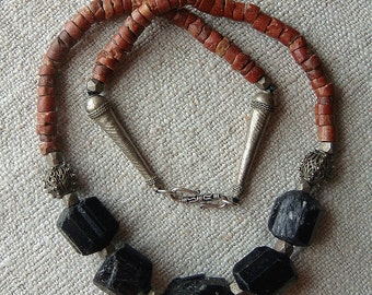 Tribal Style Primitive Rustic Black Tourmaline Pipestone Pipe Stone or Bauxite and Vintage Finding Assemblage Necklace by CobwebPalace