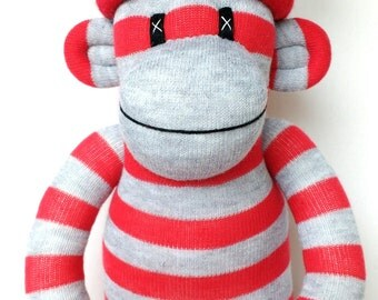 Made to order Red and grey striped Sock Monkey with removable pom pom hat ce certified cuddly toy softie soft plush baby safe