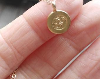 Tiny  Om Necklace, Gold Vermeil, 14k Gold Filled,  Gold Om, Tiny Necklace, Dainty, Spiritual, Yoga, Ohm, Om, Symbol, Yogi Jewelry,