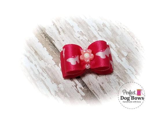 Spring Dog Bow,  Fuchsia Butterfly Pet Hair Bow