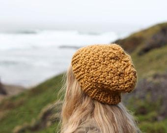 Mustard Knit Chunky Beanie Winter Hat, Texture Slouchy Beanie Wool Blend