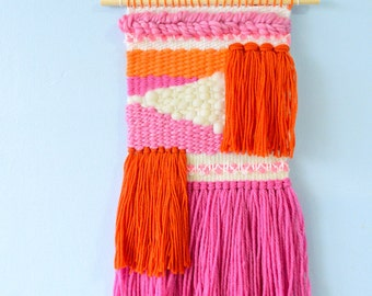 Small Woven Wall Hanging #9 (orange/pink) - tapestry fibre art wall art loom weaving home decor one of a kind wool roving yarn sweets