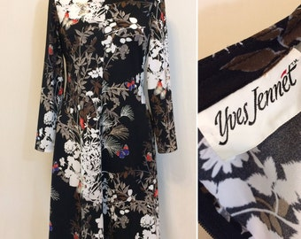 Vintage 70s dress abstract Asian butterfly dress Yves Jennett work to play