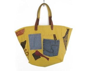 Canvas Bag, Shoulder Bag, Pockets Market Bag, Yellow Tote Bag, Patches Bag, Recycled Bag, Summer Bag, Boho Bag, Canvas Leather Bag, Boho bag