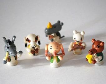 Wood Animal Figurines, Italy Sevi Animal Band, Miniature Hand Painted Wood, Vintage Animals, Musical Instruments, Pig Bear Donkey Dog Rhino