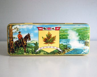 Canadian Mounties Tin, Thorne's Toffee Tin, RCMP Box, circa 1960s Storage Container, English Candy Box, Canada Souvenir, Pencil Box