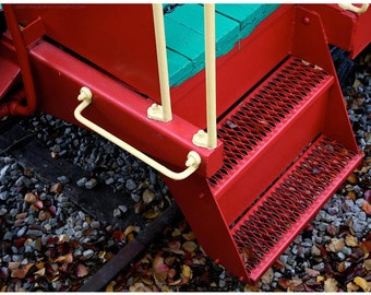 Red Steps Train Photo - 8x10 Colourful Train Detail Photograph - Turquoise Wood - Yellow - Cheerful - Transportation Wall Art - Decor Photos