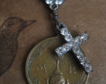 RESERVED for Cheryl ~ Maria ~ antique religious medal rhinestone cross necklace