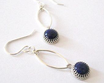 Lapis Lazuli Gemstone Long Dangle Earrings, Sterling Silver Gallery Bezel and Leaf Shape Links, Boho Modern Earrings