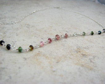 Dainty Choker Chain Necklace with Watermelon Tourmaline - Gemstone Choker Necklace in Sterling Silver - Boho Beaded Choker - Gift for Her