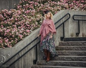 FRINGY BOHO PONCHO - Bohemian Hippie Burning man Fairy Pixie Hoodie Ethnic Shabby chic Gypsy Witch Lagenlook Mori Plus size - Pink