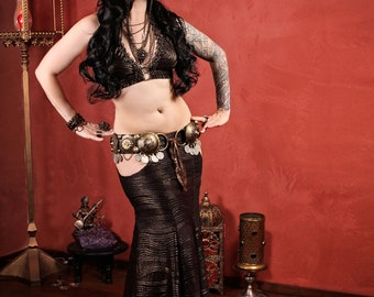 Halter, A or C Cup, Gold, Dark Fusion, Noir, Gothic Bellydance, Carnival, Tribal, Cosplay, Bra, Goth