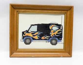 1980s cross stitched van picture