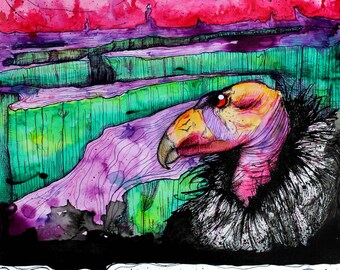"VULTURE Art - Bird Art Print - Nature Decor - Wall Art - ""Stories in Flames"" by Far Out Arts"