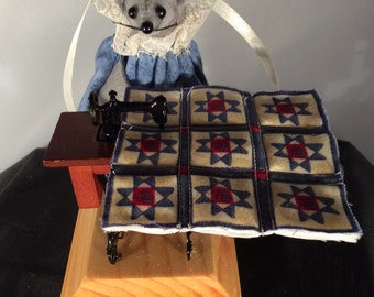 Mouse Sewing at a Treadle Sewing Machine. NEW LOWER PRICE