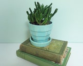 1950s Aqua McCoy Pottery Flower Pot with a Basketweave Pattern and Attached Saucer