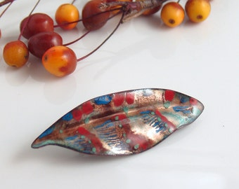 Red Blue and Copper Striped Enameled Pin, Copper Enameled Brooch, Handmade Metal Leaf with Vitreous Enamel, WillOaks Studio Flora Series