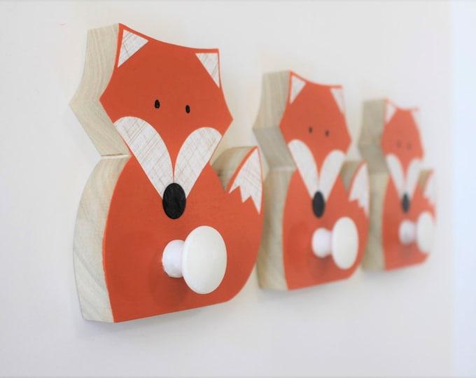 Featured listing image: Fox Wall Hook, Orange Fox, Woodland Kids Decor,  Woodland Nursery,  Wooden Fox Hanger, Kids Decor, Eco-friendly