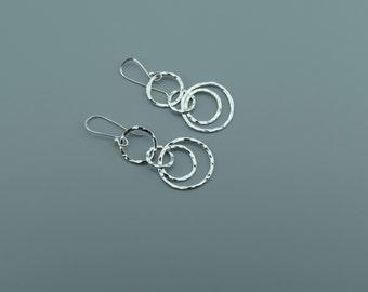 Circle Silver Dangle Earrings - Hammered Silver Earrings - Long Earrings