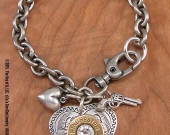 HEART JEWELRY - Bullet Jewelry - Heart Charm Bracelet - Shot Thru The Heart Charm Bracelet - Shotgun Casing Jewelry - Love Jewelry