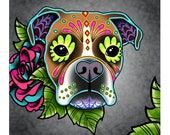 """SALE Regularly 14.95 - Boxer in White Fawn - Day of the Dead Sugar Skull Dog 8"""" x 10"""" Art Print"""