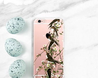 iPhone 7 Case Clear, iPhone 7 Plus Case Birds on Cherry Tree iPhone 6S, Plus, SE, 5S, Cherry Blossoms, Swallows Gift for Her, Women