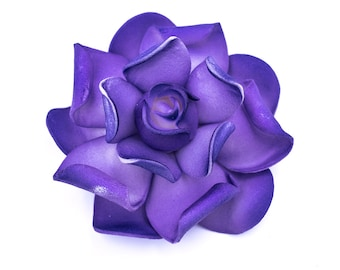 Purple Gardenia Hair Clip, 3 Inch  Gardenia,  Floral Hair Clip, Bridal Hair Accessory, Gardenia
