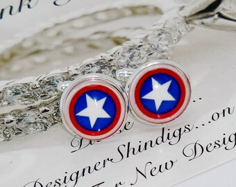 Captain America Cuff Links with Case, Best Man, groomsman, bridesman cufflinks, custom wedding gifts wedding gift White