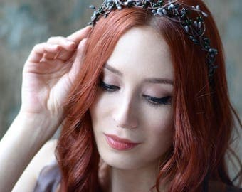 Whimsical tiara, twig crown, navy blue pip crown, twiggy headpiece, woodland branch crown, bridal hair accessories by gardens of whimsy