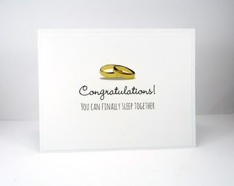 Funny wedding card, Congratulations card, Sleep together with rings on, living in sin, wedding night, same sex wedding, gay marriage