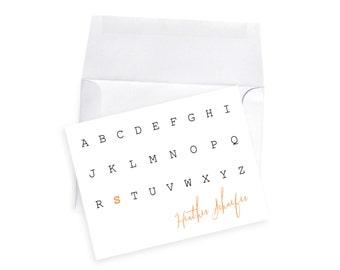 Typewriter New Teacher Note Card Gift Set Elementary PreK Kindergarten Teacher Holiday Gift Personalized Name Stationery School Male Teacher