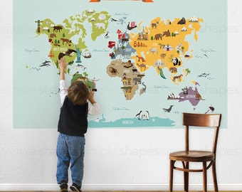 World map decal etsy world map peel and stick poster sticker sciox Choice Image