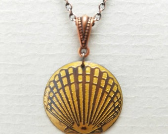 Etched Copper Scallop Seashell Necklace