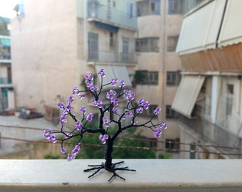 Jacaranda tree black purple miniature wrapped wire tree of life whimsical wire tree statue spring home minimal decor gift for mum under 25