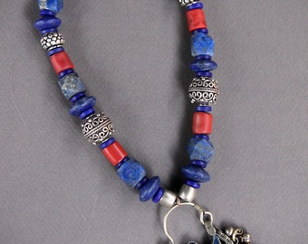 Vintage Kuchi Pendant Necklace with Afghan Lapis and Ethiopian Silver Gypsy Blues Ethnic Gemstone Jewelry