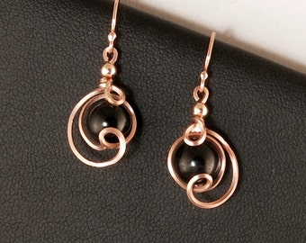 Black Tourmaline Rose Gold Small Drop Earrings, Unique Pink Gold Wire Wrapped Black Tourmaline Gemstone Earrings, Rose Pink Gold Earrings