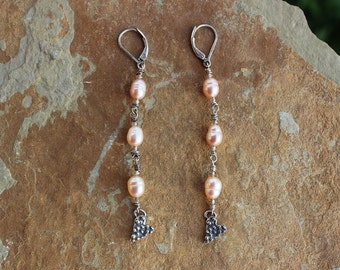 Long Dainty Pearl and Heart Earrings, Handmade Urban Chic Earrings, Lost Wax Earrings, Handcrafted Artisan Sterling Silver Earrings