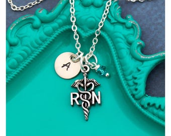 SALE • Nurse Gift RN Necklace Nurse Jewelry • Nurse Graduate Gift Graduation Nurse Day Gift • Medical Nurse Silver RN Charm Maternity Nurse