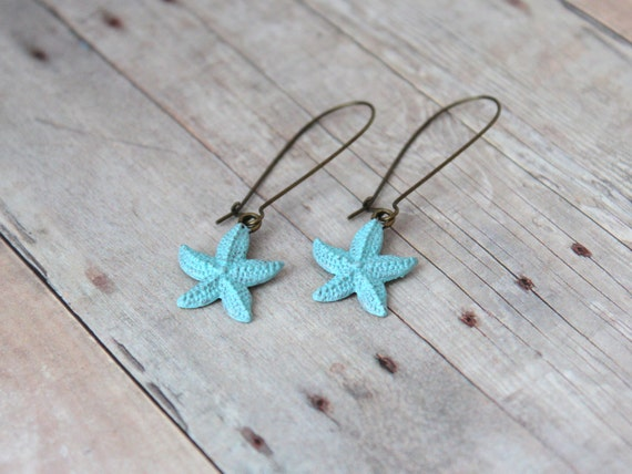 B E A C H Y - Turquoise Blue, Hand Painted Antique Bronze Starfish Kidney Wire Hook, Dangle Earrings