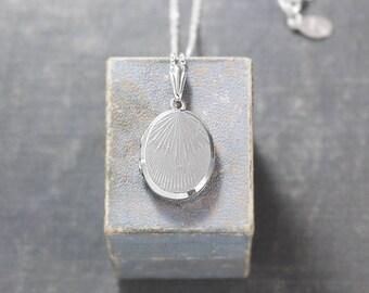 Small Oval Sterling Silver Locket Necklace, Minimalist Art Deco Design Photo Locket - Sun Rays