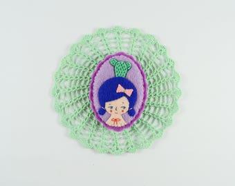 Plant Girl Felt Brooch / Cactus Girl Pin / Plant Lover Brooch / Felt Girl Pin / Cactus Brooch / Nature Lover Pin / Succulent Brooch