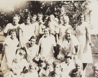 Grandmother Laughing with Family on the Farm-Outdoor Photograph-Black and White Snapshot-1940s-Antique-Vintage Photograph-Family Gathering