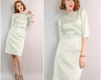 1960's Wiggle Dress / 50s 60s Fitted Satin Dress / Aqua / Small
