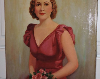 Vintage Large oil PORTRAIT Beautiful WOMAN in BERRY Pink Satin Dress w/ Roses Painting c1930s